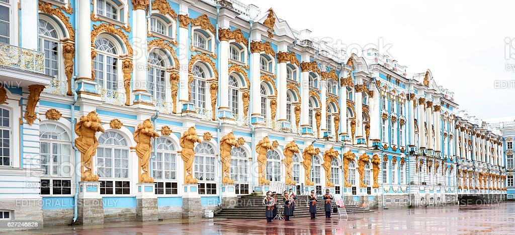 Band Playing in the Rain, Catherine Palace, St Petersburg, Russia stock photo