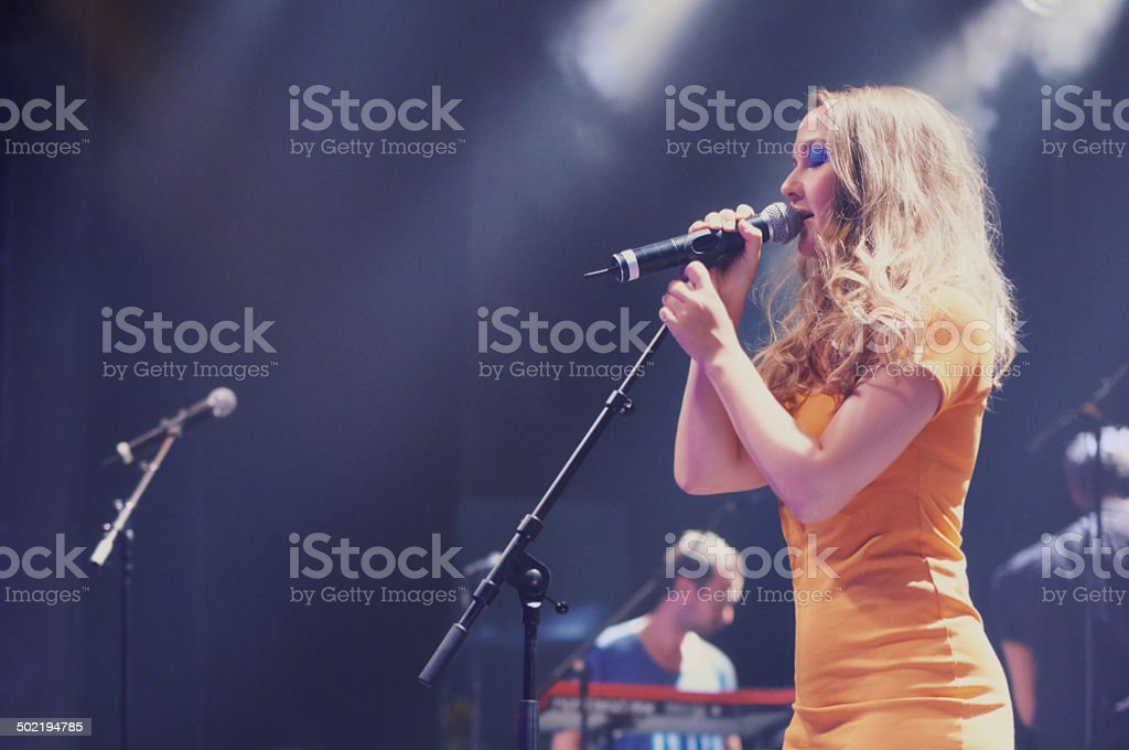 Her voice is heavenly stock photo