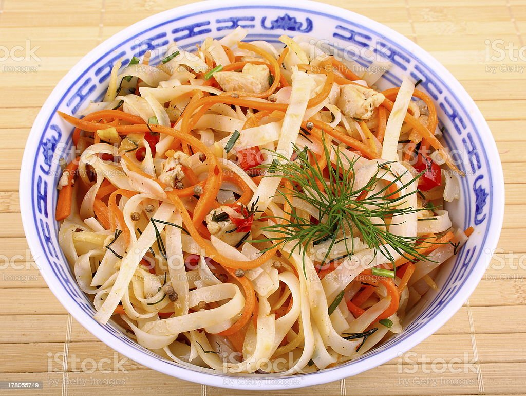 Band than Asian rice noodle salad with chicken meat royalty-free stock photo