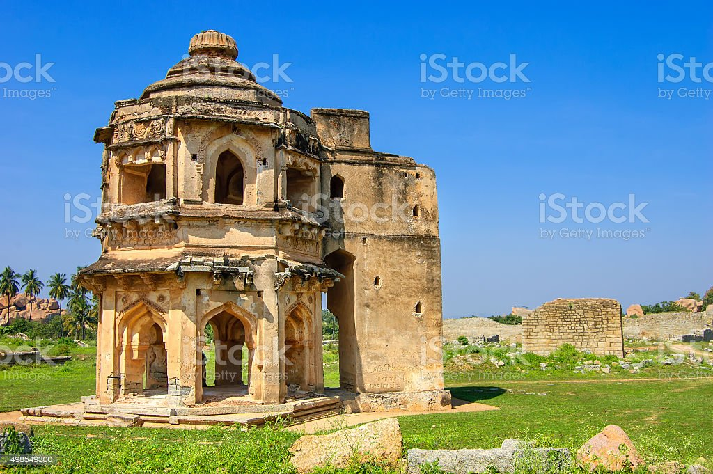 Band Tower with ancient ruins in Hampi, Karnataka, India stock photo