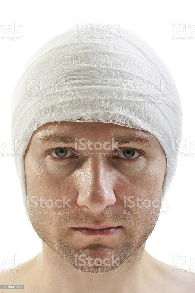 Bandage on wound head royalty-free stock photo