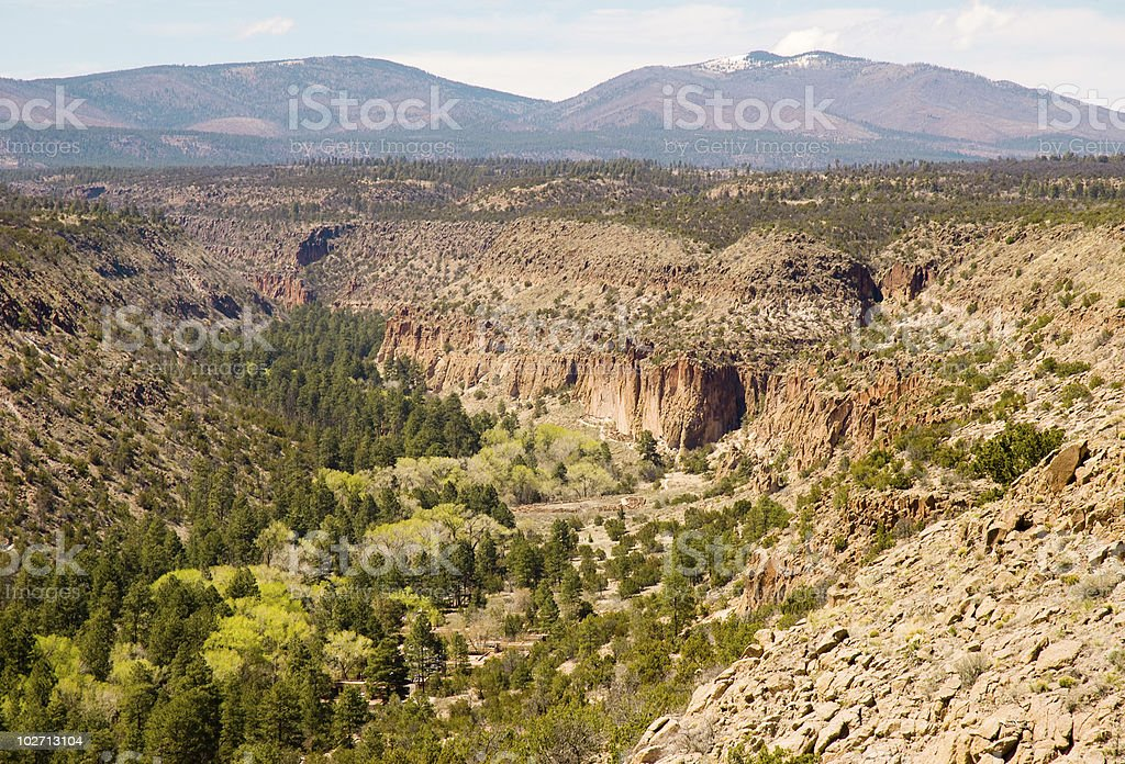 Bandelier National Monument in a canyon stock photo