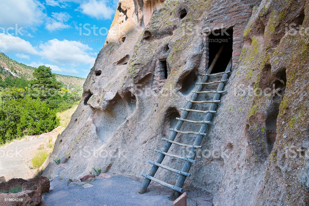Bandelier New Mexico Cliff Dwellings stock photo