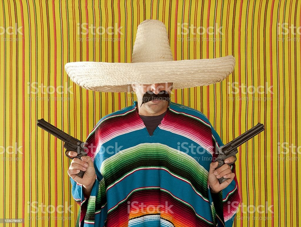 Bandit Mexican revolver mustache gunman sombrero stock photo