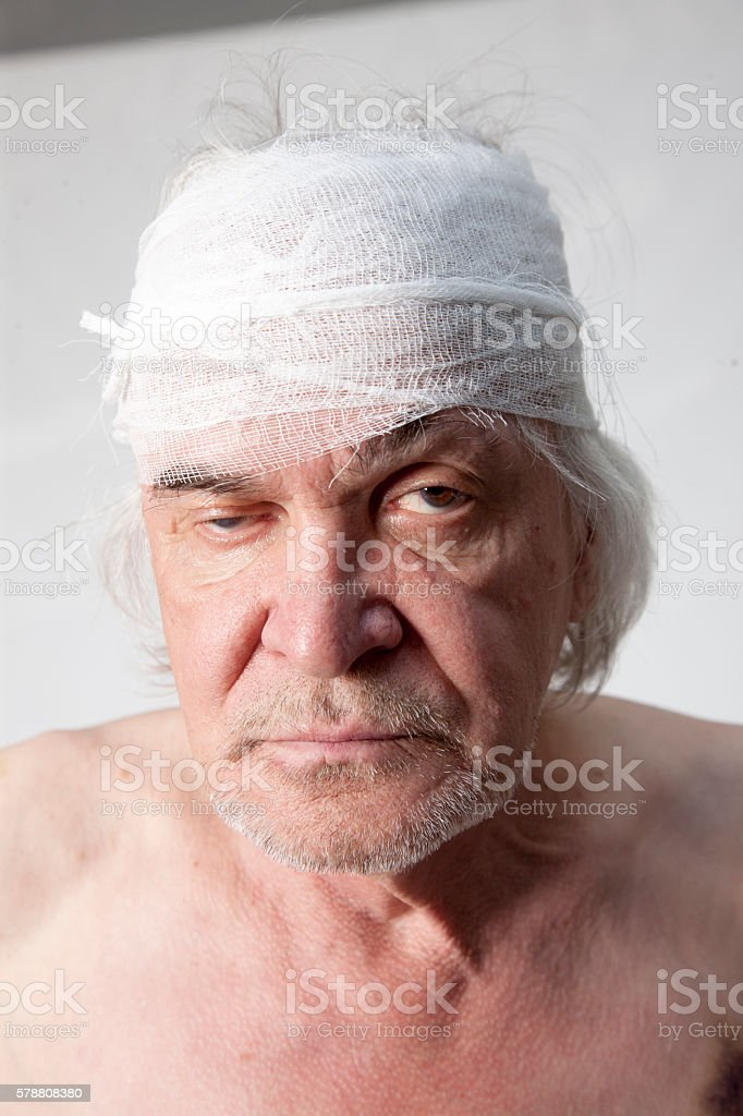 Bandits mutilated man stock photo