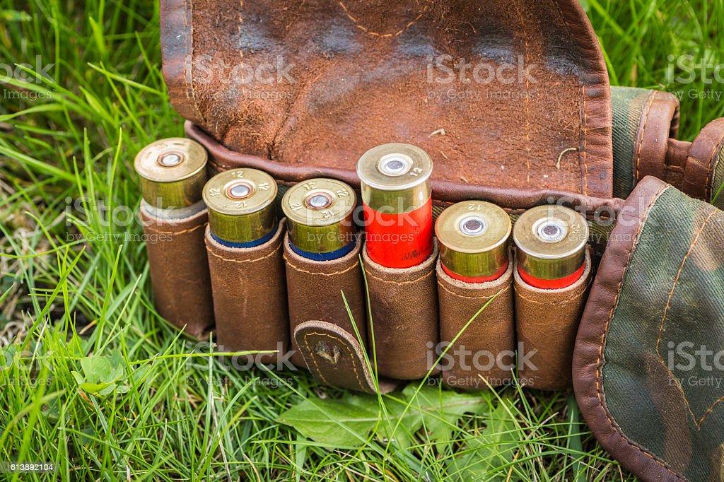 Bandolier with cartridges stock photo