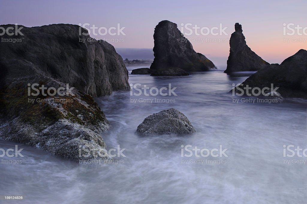 Bandon Beach Sea stacks Oregon at Sunset royalty-free stock photo