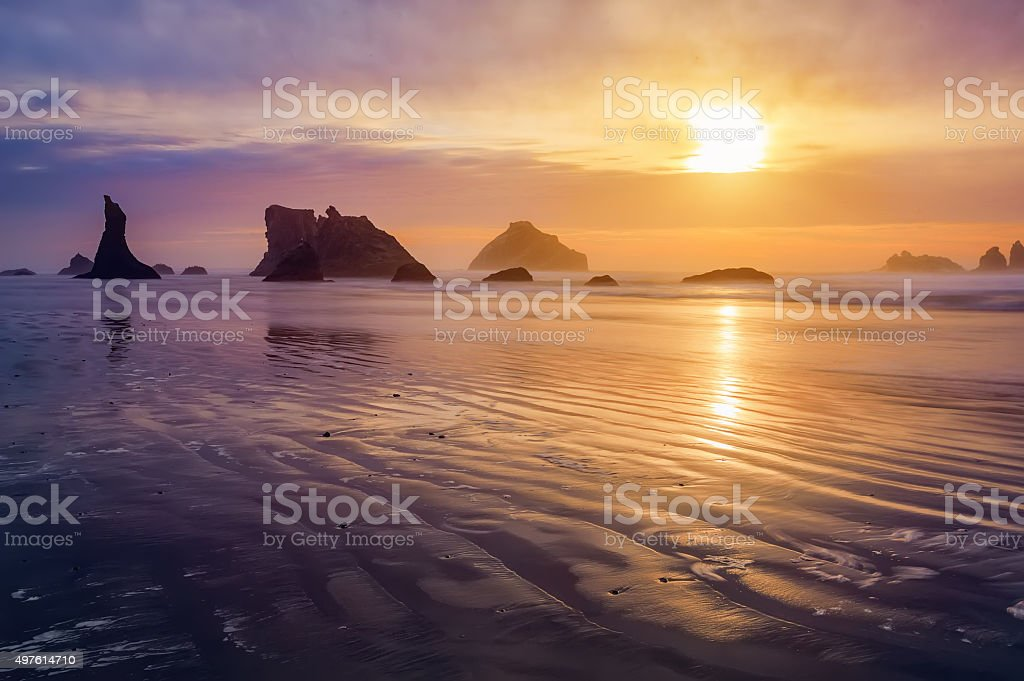 Bandon beach sunset stock photo