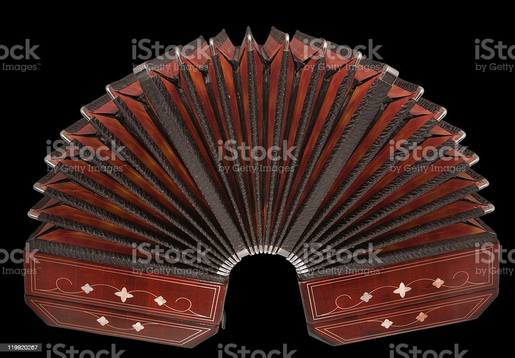 bandoneon isolated on black with path stock photo