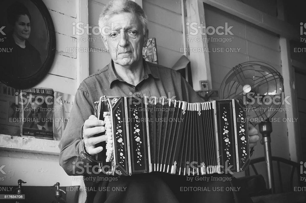 Bandoneon Player Norberto Gradilone stock photo