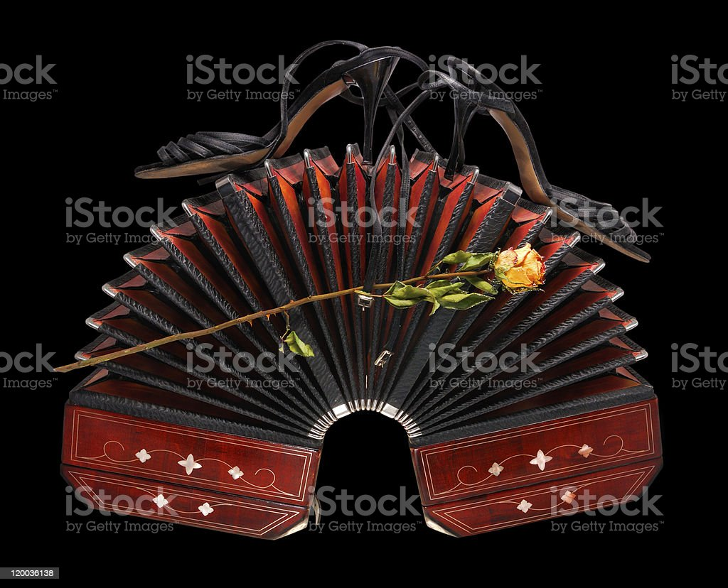 Bandoneon with tango shoes and dry rose, isolated on black stock photo