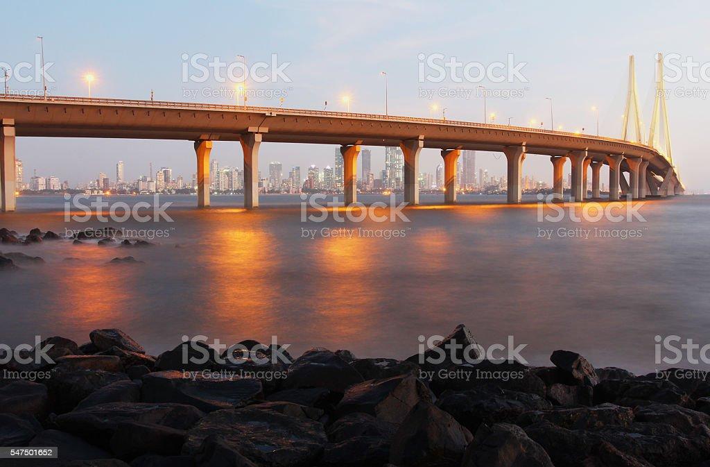 Bandra Worli Sea Link at dusk stock photo