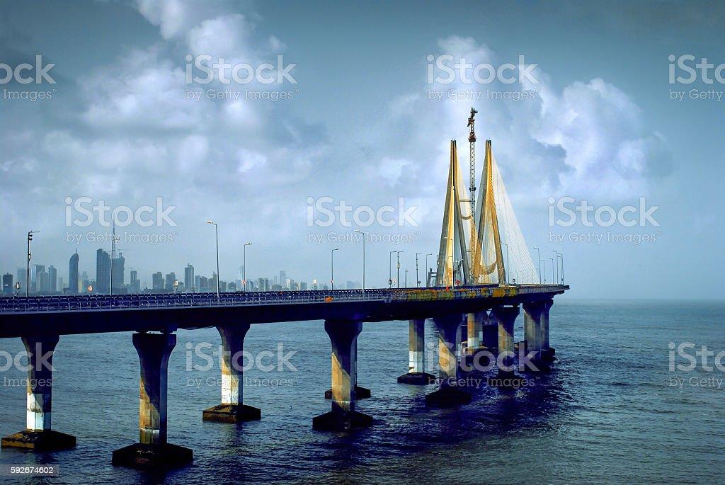 Bandra-Worli Sea Link, also called Rajiv Gandhi Sea Link stock photo