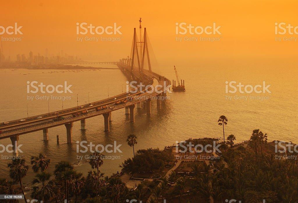 Bandra-Worli Sea Link at dusk stock photo