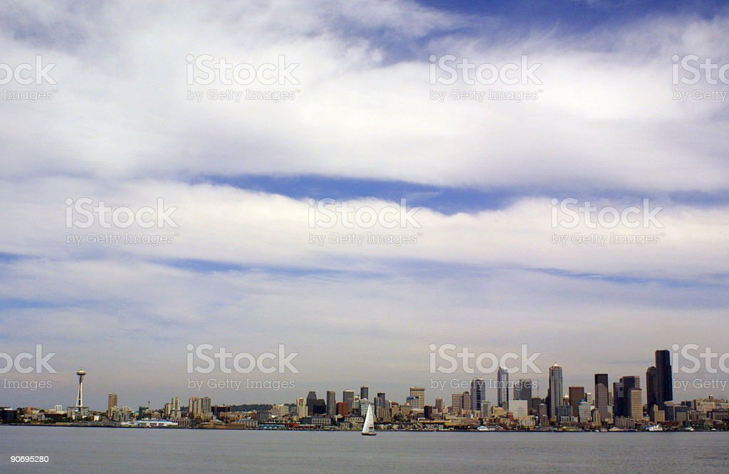 Bands of clouds over Seattle royalty-free stock photo