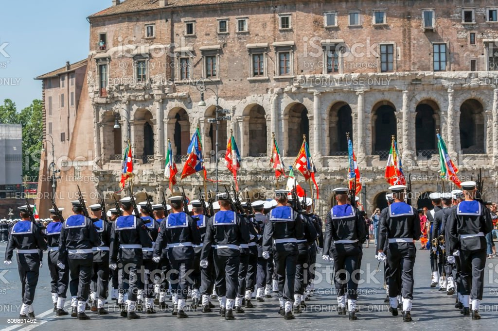 Bands of sailors troops participating at military parade of Italian National Day stock photo