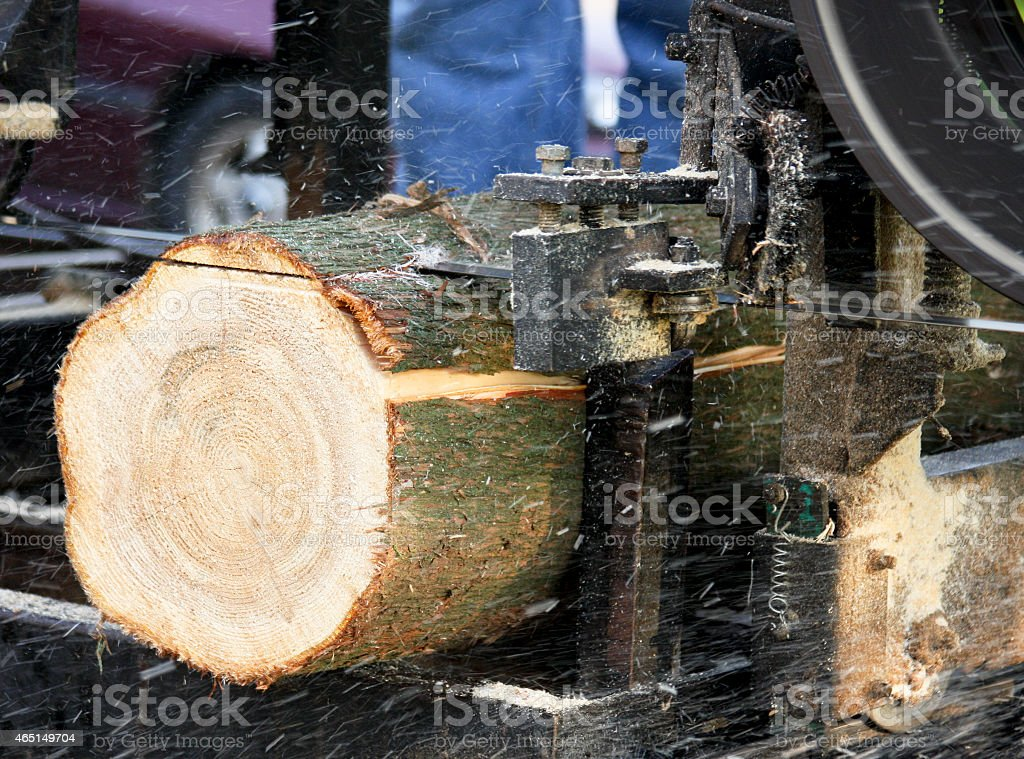 Bandsaw sawmill cutting a pine log stock photo