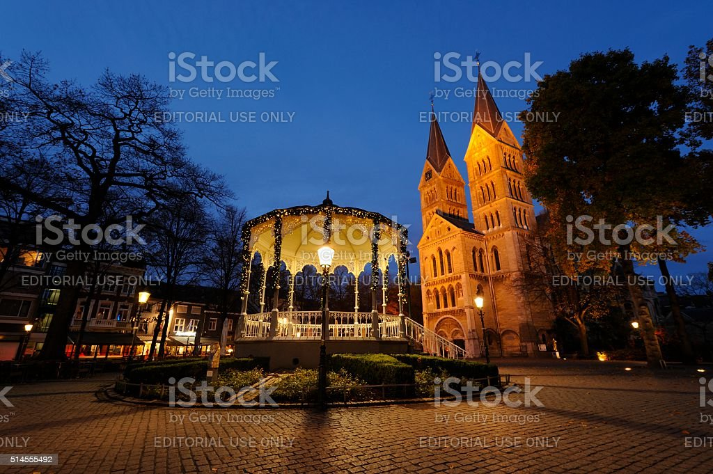 Bandstand and Munsterkerk in Roermond stock photo