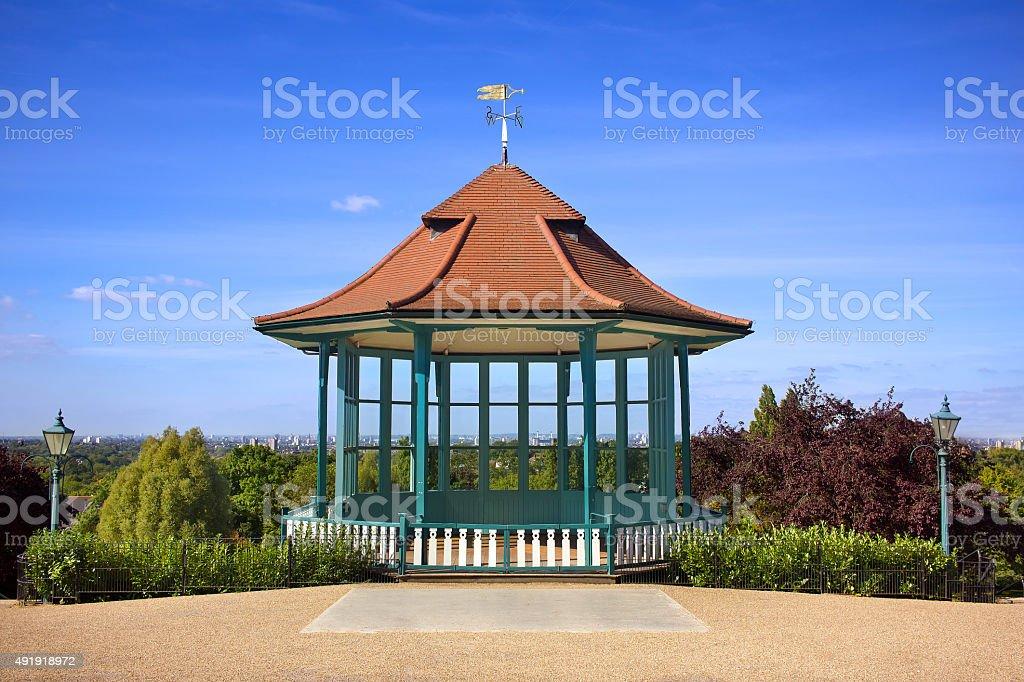 Bandstand City View. Scenic Public Park Landmark London Skyline stock photo