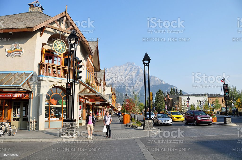 Banff Avenue shops royalty-free stock photo