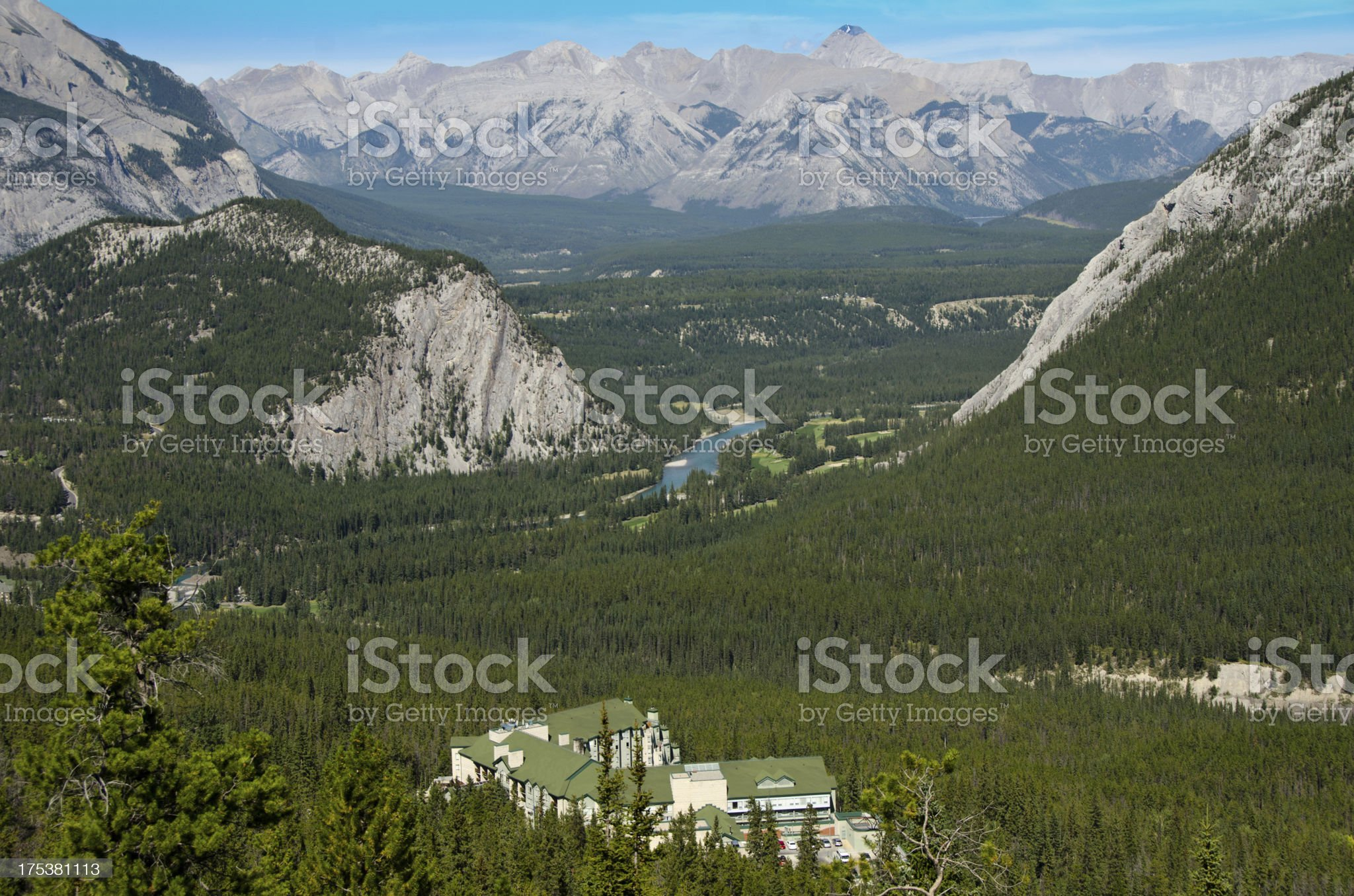 Banff Golf Course and Rim Rock Hotel royalty-free stock photo