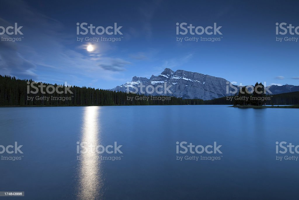 Banff Moonrise royalty-free stock photo