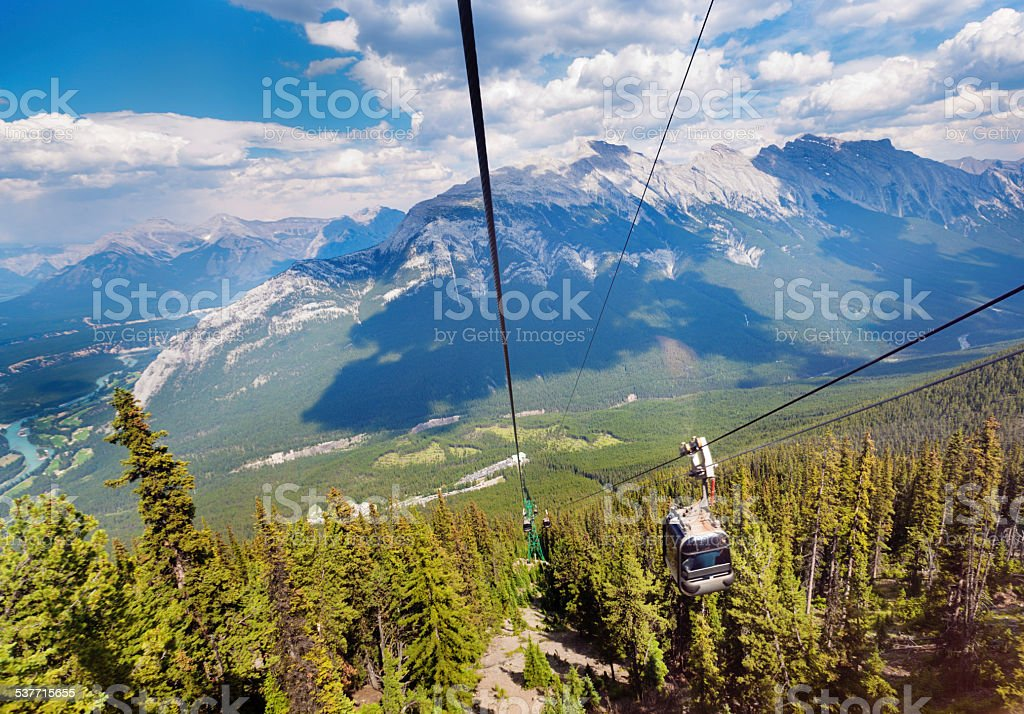 Banff National Park Gondola Cable Cars for Canadian Rockies Vacation stock photo