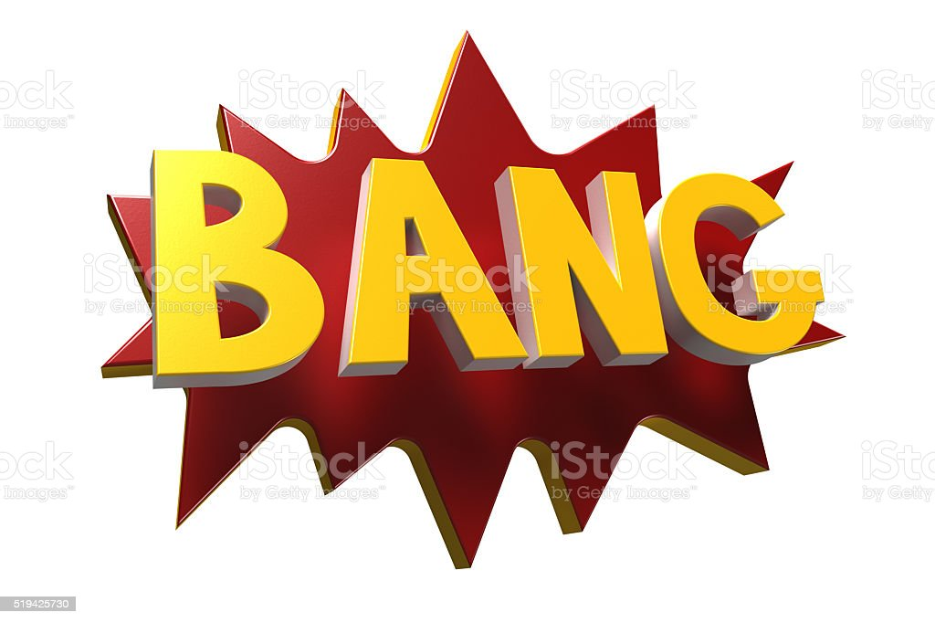 Bang in cartoon letters stock photo
