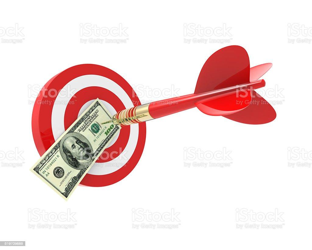 Bang on target 100 dollar bills stock photo