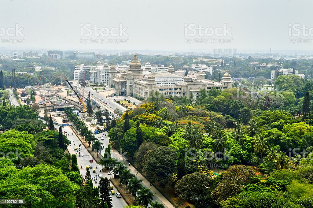 Bangalore city Aerial view with vidhansoudha coverd with trees stock photo