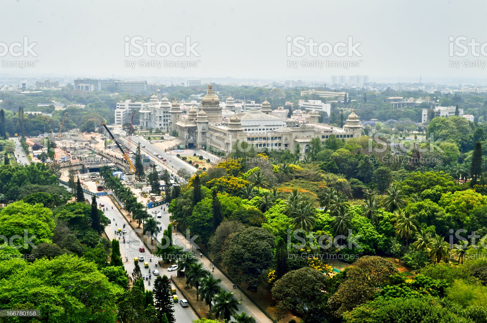 Bangalore city Aerial view with vidhansoudha coverd with trees royalty-free stock photo