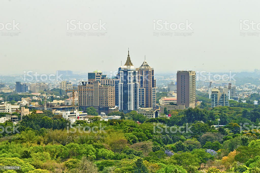 Bangalore or bengalurucity scape with green trees on foreground stock photo