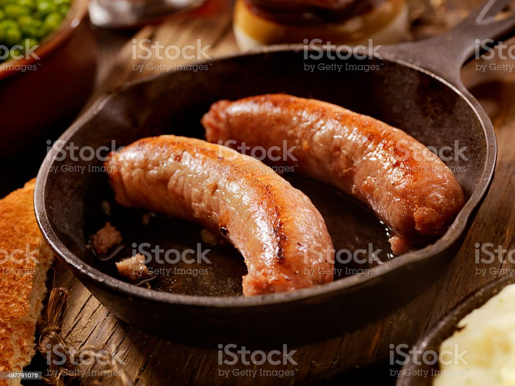 Bangers, Mash and a Beer stock photo