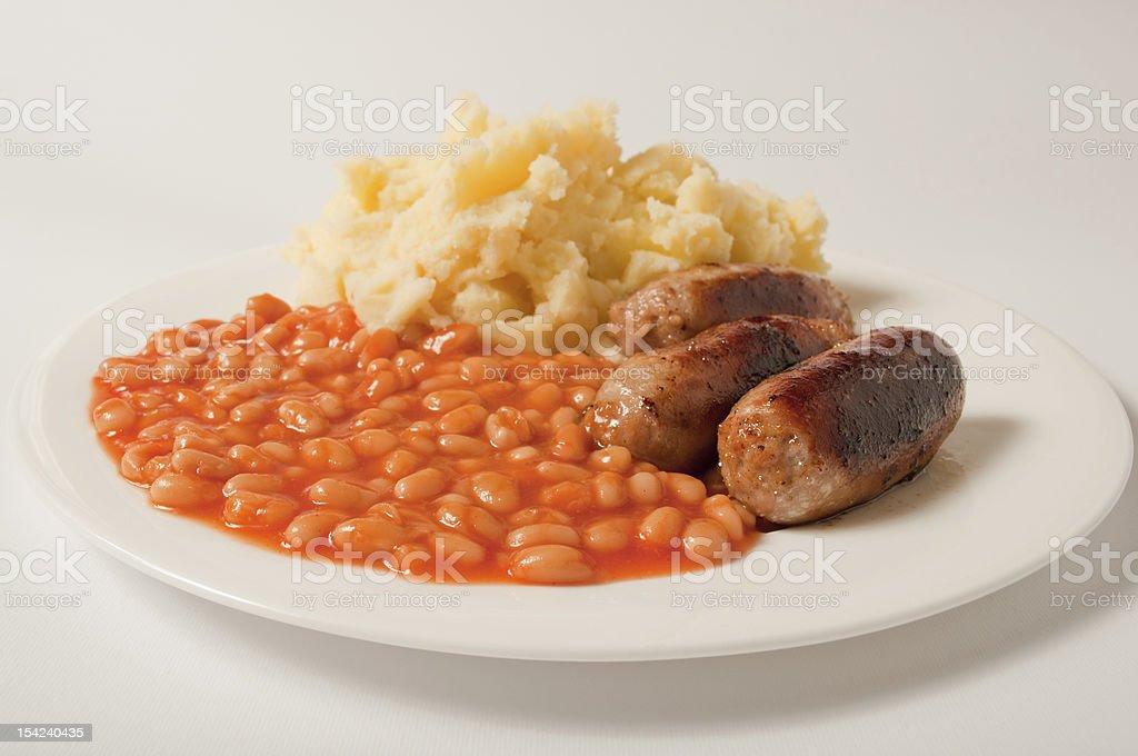 Bangers mash and beans stock photo