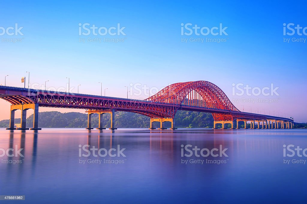 Banghwa bridge and han river in Seoul stock photo