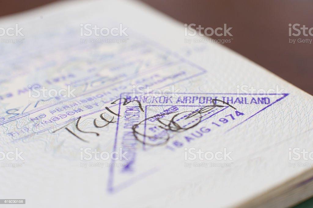 Bangkok airport thailand passport visa stock photo