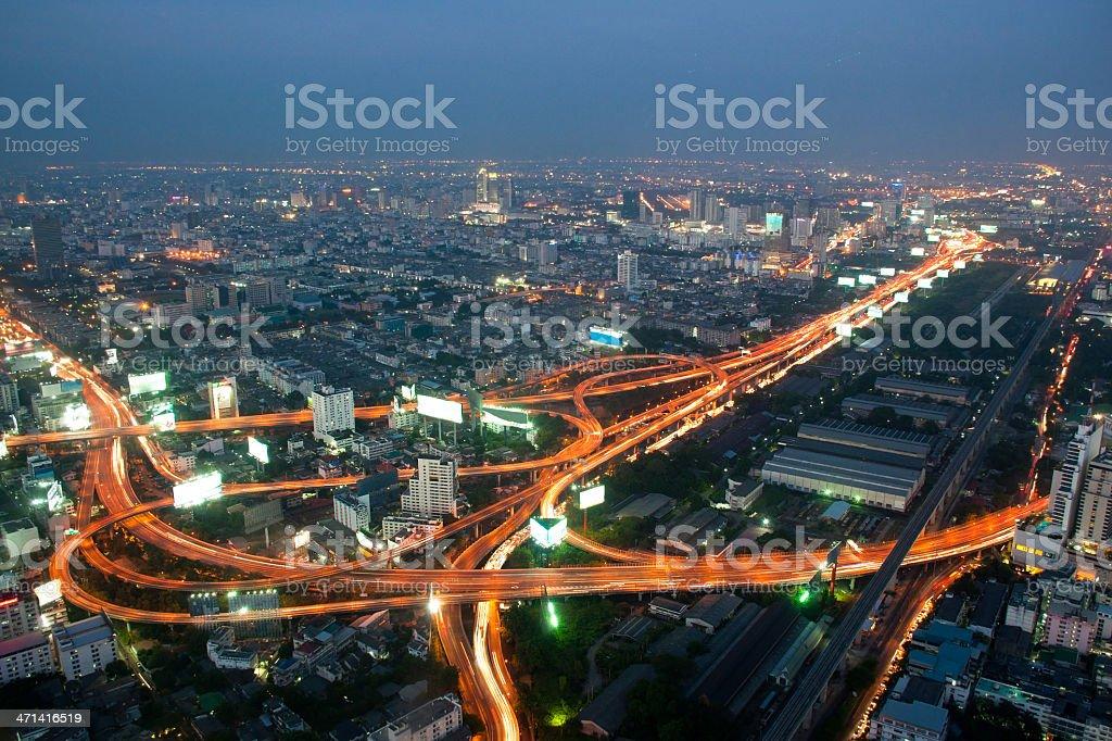 Bangkok i express sposób Zobacz punkt z Baiyok building zbiór zdjęć royalty-free