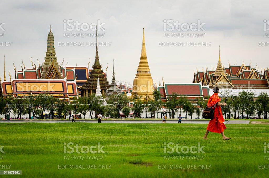 Bangkok, Bhuddist monk walking in Sanam Luang stock photo
