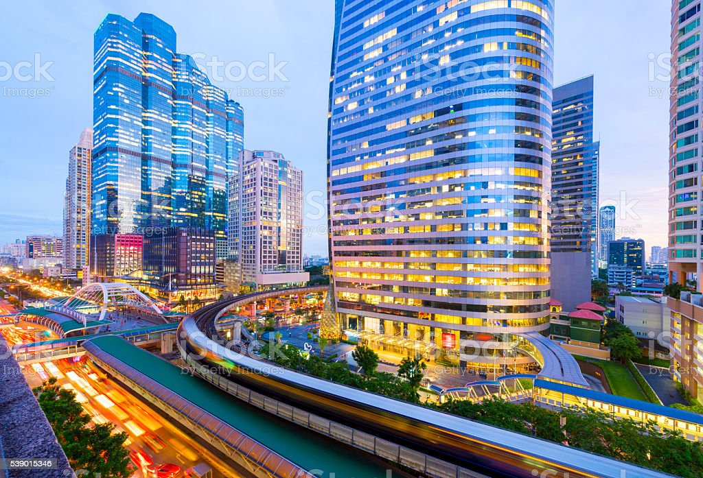 Bangkok business district and BTS sky train view. stock photo