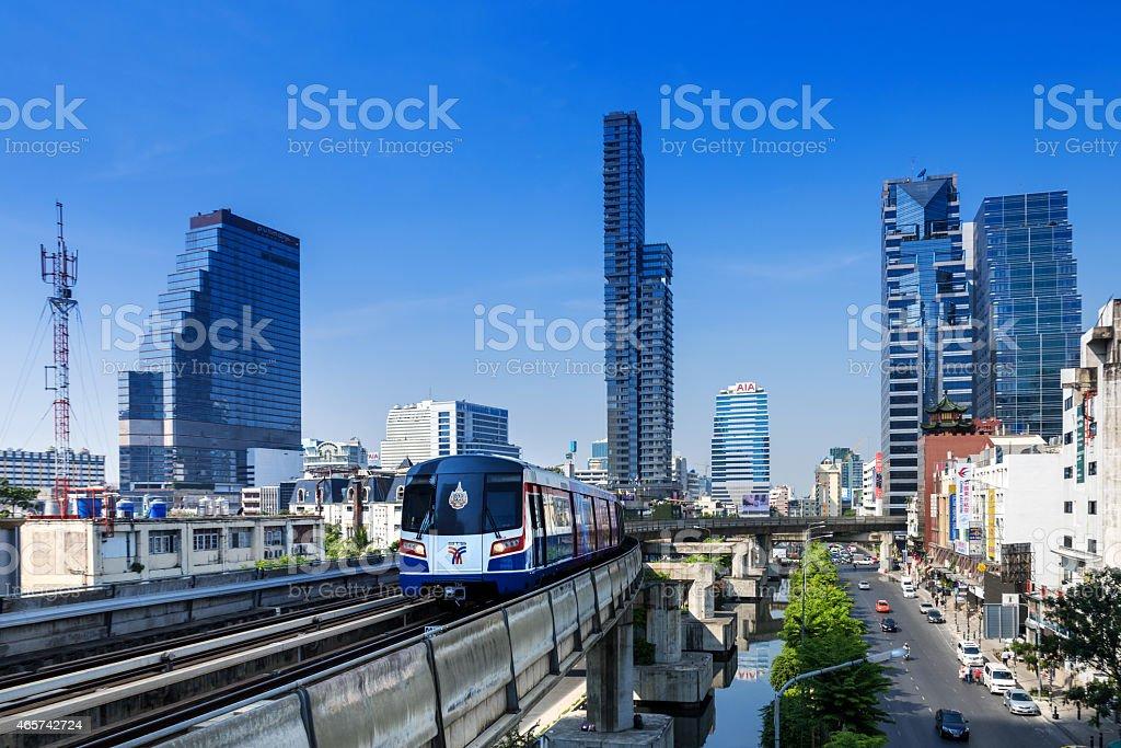 Bangkok Business district with Skytrain stock photo