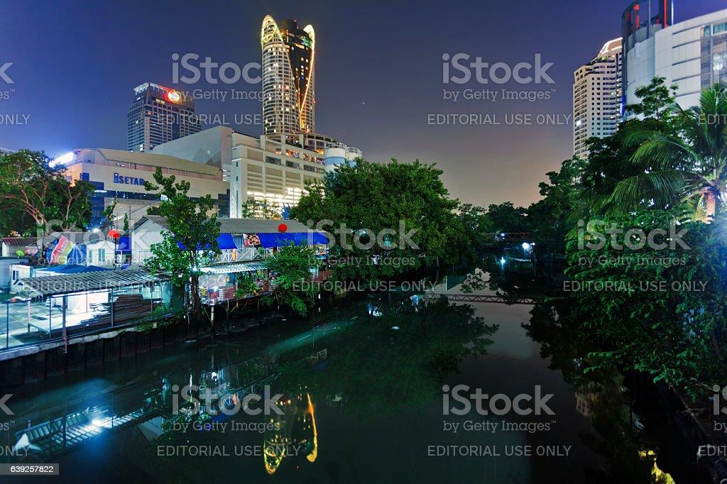 Bangkok canal night view stock photo