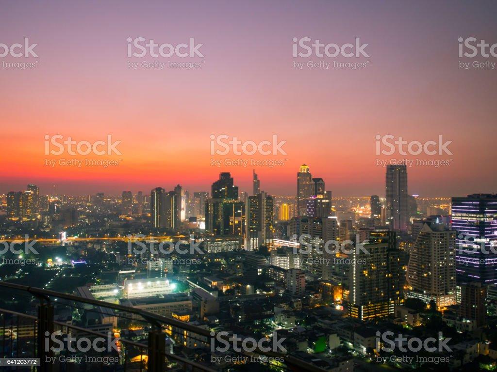 Bangkok central business district in twilight,landscape of bangkok stock photo