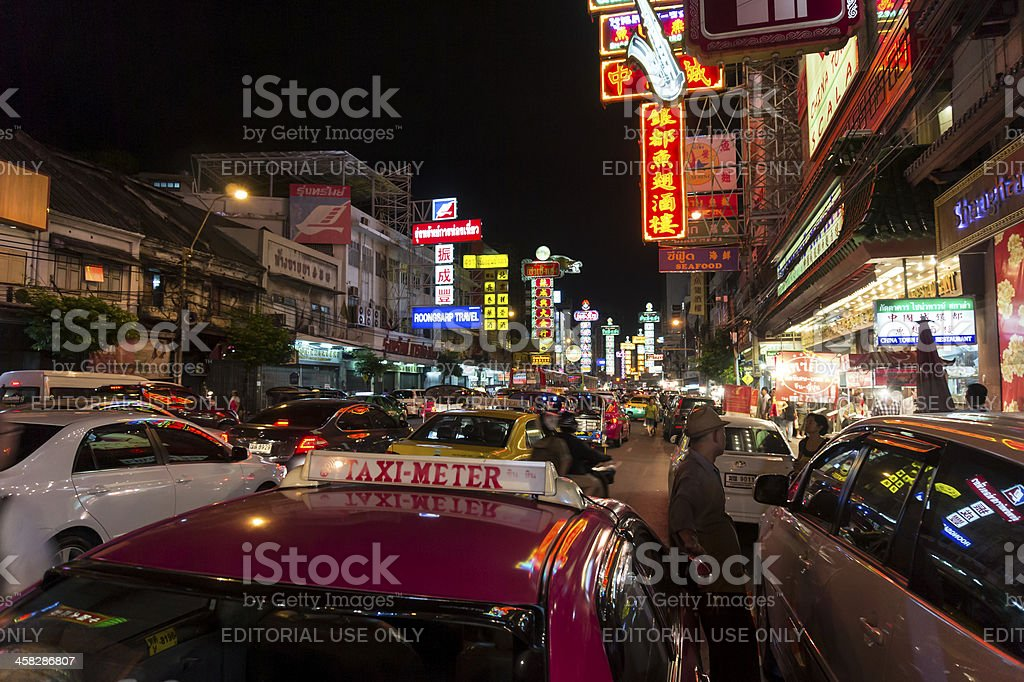 Bangkok Chinatown at night royalty-free stock photo