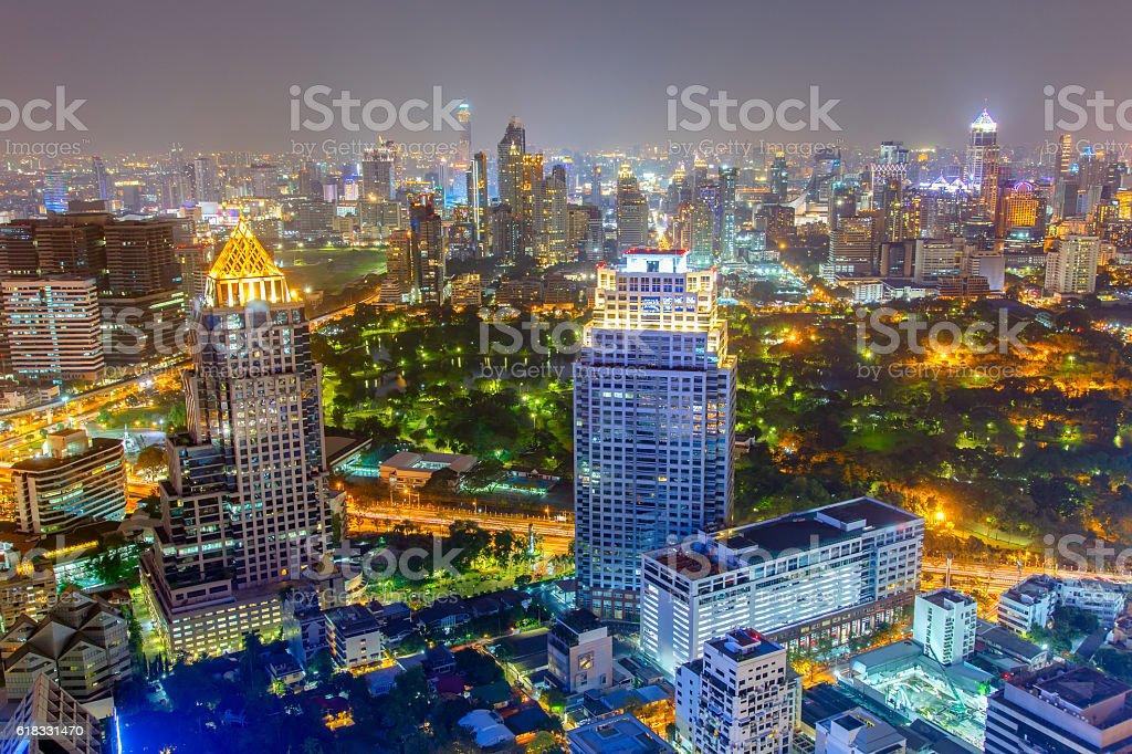 Bangkok city at colorful nightlife stock photo