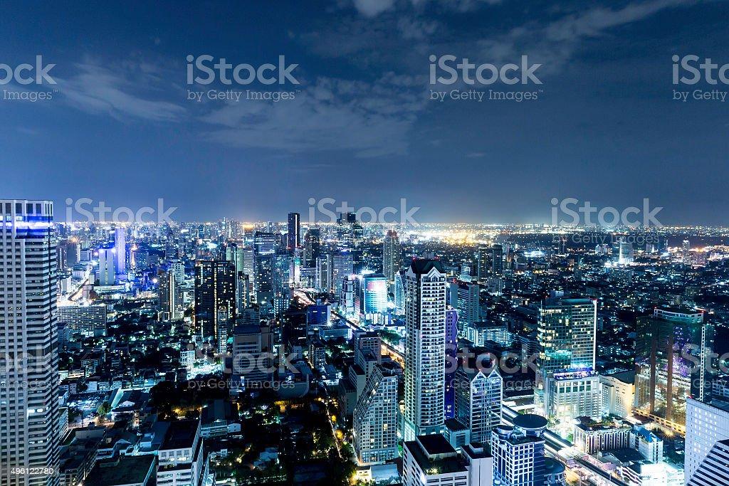 Bangkok city at night, Thailand stock photo