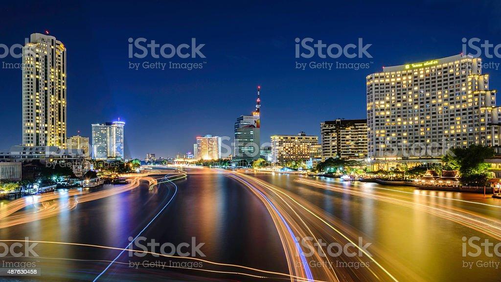 Bangkok City at night time royalty-free stock photo