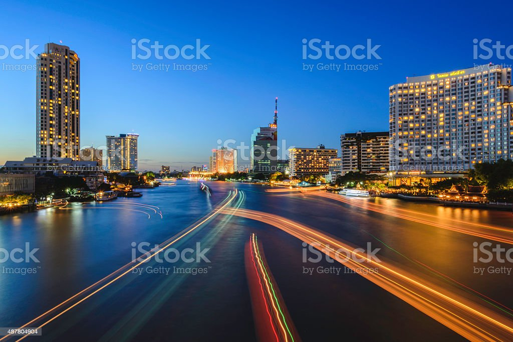 Bangkok City at night time royalty-free stock photo