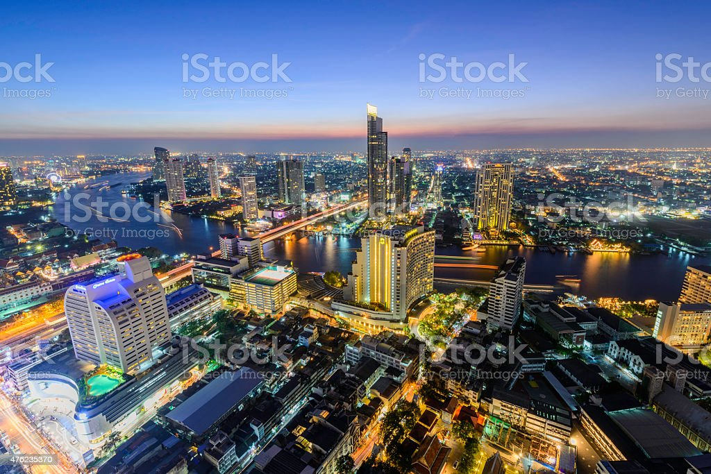 Bangkok city at sunset (Taksin Bridge) royalty-free stock photo