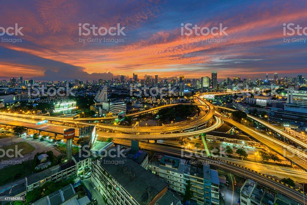 Bangkok city at sunset, Thailand royalty-free stock photo