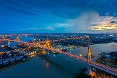 Bangkok City - Beautiful sunset view of Bhumibol Bridge